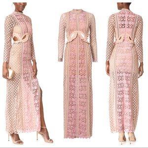 Self Portrait Payne Cutout Lace Pink Maxi Dress